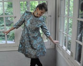Blue Lame Party Dress/Vintage 1960s/Metallic Brocade Formal Dress/Space Age Mini Dress/Size S M