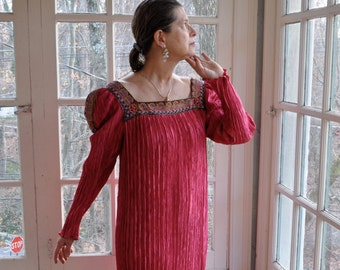 Mary McFadden Fortuny Pleated Gown/Vintage 1980s/Fuschia Rose Pink Special Occasion Dress/Red Carpet Fashion/Size Medium