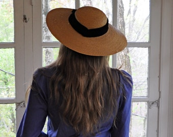 Picture Perfect Wide Brimmed Sun Hat/Vintage 1930s/Straw Picture Hat