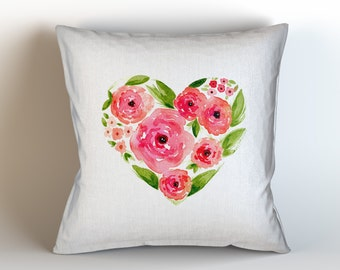 Rose Floral Heart, Original Watercolour Art, Throw Pillow Case w/optional insert, Home Decor, Red, Pink, Green, White, Unique Gift