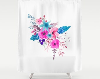 "Fabric Shower Curtain, Pink Blue Floral Bouquet Shower Curtain,  Quality Custom Order, Shower Curtain Standard 71""x74, Bathroom Decor"
