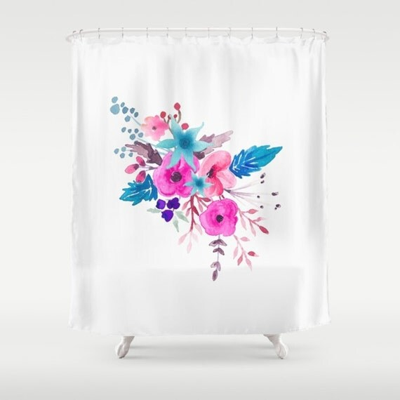 Fabric Shower Curtain Pink Blue Floral Bouquet Shower