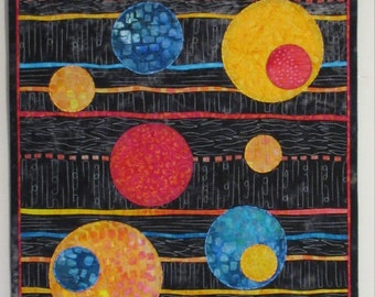 Modern quilted fibre art wall hanging Stripes and Circles 18 x 42 inches.