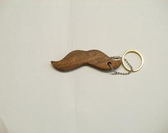 moustache  key chain  walnut scroll saw