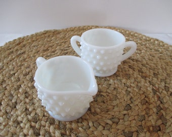 Hobnail Milk Glass Cream & Sugar Set