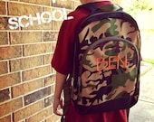 SALE Monogrammed Toddler/Child Backpack. Three colors available. Shark, Camo, Pink Animal. Back to School Sale