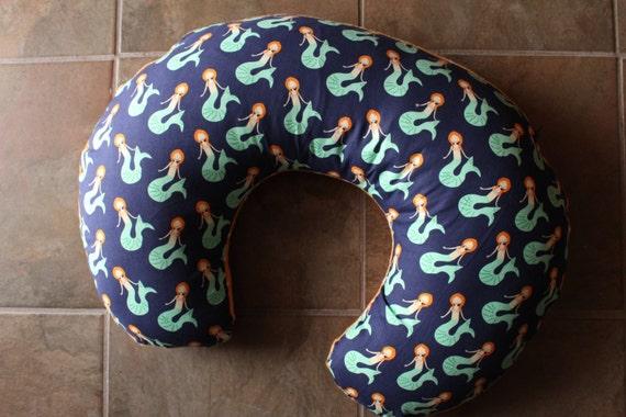 Monogrammed Mermaid Boppy Pillow Cover Navy Mermaid And