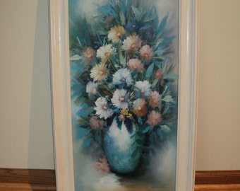 Original Floral Still Life Oil Painting in Mint Condition, Happy Harmonious Daisies against a beautiful blue background in an elegant vase