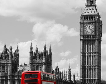 Big Ben With Red Double Decker Bus Photograph, London Black And White Photography, British Icon, Fine Art Photography, 8 x 10 Photo Print