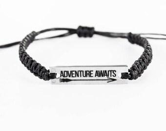 Adventure Awaits Bracelet, Word Bracelet, Inspiration Bracelet, Inspiration Jewelry, Stainless Steel, Gift for Her, Friendship Bracelet