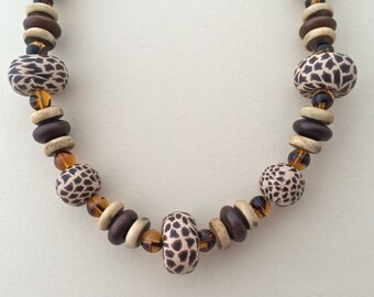 Brown Leopard Bindu Necklace