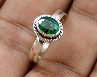 925 Solid Sterling Silver Faceted Emerald Gemstone Women Ring SJXR_0162