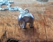 Dainty Silver Elephant Necklace Minimalist Necklace Mini Rhodium Elephant