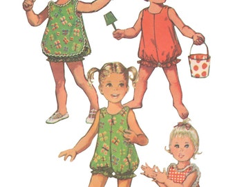 Simplicity 9395 Vintage 1970s Sewing Pattern Toddler Size 2 Bubblesuit Romper Pinafore Round Neck Ruffles Shoulder Buttons