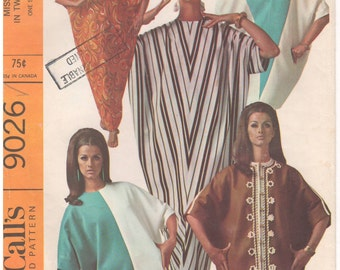 1967 - McCalls 9026 Vintage Sewing Pattern One Size Time Saver Quickie Abba Caftan Cover Up Loose Robe