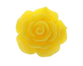 10 Yellow Flower Cabochons - Resin - Embellishment - Flat Backs - 20mm - Ships IMMEDIATELY from California - C306