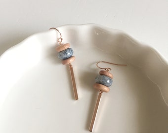 NEW Delicate Opal and Rose Gold Drop Earrings, Bridesmaids Gift, Gifts for Her
