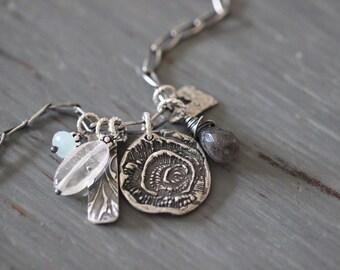 Botanical Charm Necklace, Gemstone Necklace, Crystal Quartz, Aqua Chalcedony, Labradorite, Wire Wrapped, Sterling Silver, Rustic, Boho