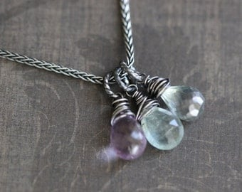 Gemstone Necklace, Multi Gemstone, Moss Aquamarine, Mystic Quartz, Purple Amethyst, Sterling Silver, 20 Inch, Wire Wrapped, Wheat chain