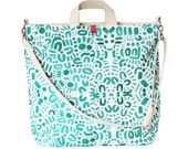 The Artist Tote - Glyphs   Large Patterned Canvas Market Tote for Art Supplies and Laptop