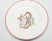 1940's Rudolph the Red Nosed Reindeer Plate, Antique RLM Christmas Plate, Vintage Childs China