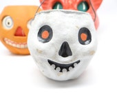 Vintage Halloween Skeleton Skull Candy Container, Vintage Pulp Paper Mache Reproduction