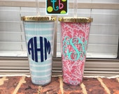 SALE!! Preppy Personalized Monogrammed Summer Tumbler