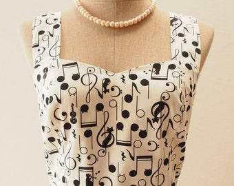 White Music Dress, Vintage Inspired Dress, Concert Singer Music Note Dress, White Summer Dress, Quirky Dress, 50's