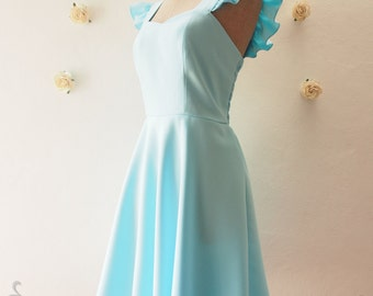 Olivia - Dress in Blue Bridesmaid Dress Blue Party Dress Blue Tea Dress Reception Dress Ruffle Sleeve Dress Blue Summer dress-XS-XL, custom