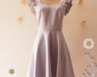 Olivia - Gray Dress Gray Party Dress Gray Bridesmaid Dress Bridal Shower Reception Dress Ruffle Sleeve Dress Summer dress -XS-XL, Custom