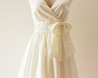 FLAWLESS - White Party Dress, White Bridesmaid Dress, White Vintage Summer Dress, Off White Dress, White Dress, Bow Pin, XS-XL, Custom