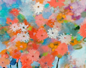 "Colorful Original Abstract Floral Painting on Canvas, Orange, Blue ""Sun Kissed"" 24x24"""