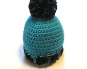 Baby boy 3-6 month blue crochet winter hat with pom pom.  Ready to ship infant boys hat.  Winter hat for baby boy.  Stocking stuffer baby.