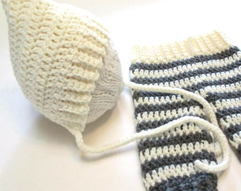 Newborn crochet cream and grey pixie hat and pants set.  Newborn photography prop.  Made to order.  Baby shower gift.  Pregnancy reveal.
