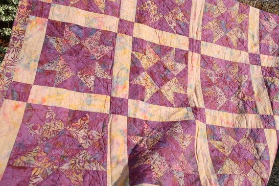 CLEARANCE SALE Patchwork Quilt, Vintage Star Handmade by PingWynny