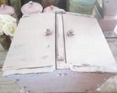 Vintage  sewing box wood pale pink roses  shabby chic cottage prairie