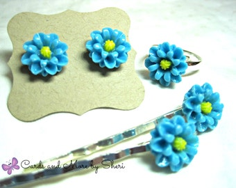 Flower Ring, Earrings and Bobby Pin Set - Flower Girl Jewelry - Little Girl Gifts - Gifts for Girls