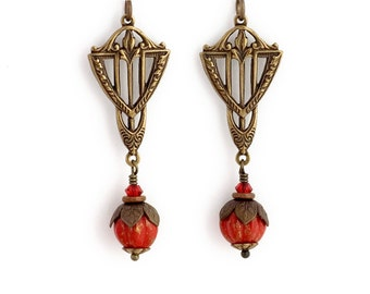 Scarlet Red Earrings - Nickel Free Antiqued Brass Earrings - Crimson Red Art Deco Earrings - Art Deco Jewelry - Red Bead Earrings (Zenobia)