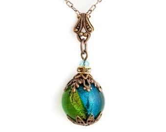 Teal Venetian Glass Necklace, Peridot Green Murano Glass Jewelry, Glass Bead Pendant Necklace, Brass Filigree Necklace Nickel Free, Chryseis
