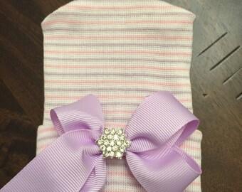 First Bow Newborn Hospital Hat (newborn girl hat, newborn beanie, newborn hospital hat with bow, first bow)