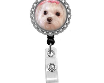 Maltese Dog Id Badge Reel Lanyard Name Tag Holder