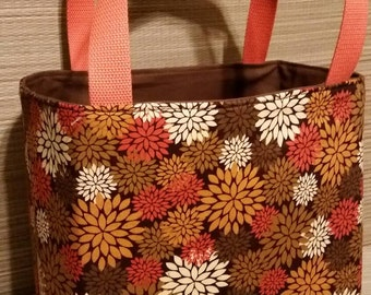 Autumn colored flowers tote