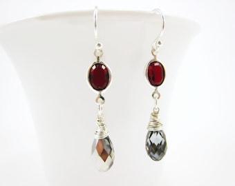 Silver Crystal Earrings Red Earrings Swarovski Silver Drop Earrings Simple Jewelry Crystal Jewelry Handmade Earrings Fall Gift for Her