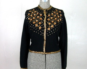 25% Off Summer Sale.... Vintage 1980s does 1950s Sequin Sweater 50s Style Black Wool Cardigan with Gold Sequins Size Large