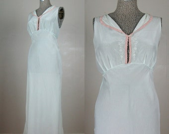 Vintage 1930s 1940s Nightgown 30s 40s Mint Green Silk Lingerie Size M