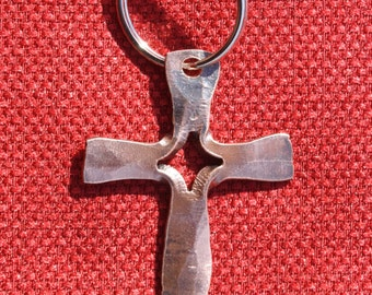 Hand forged copper cross keychain