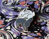 White Rabbit, Black Rabbit Hard Enamel Pin.