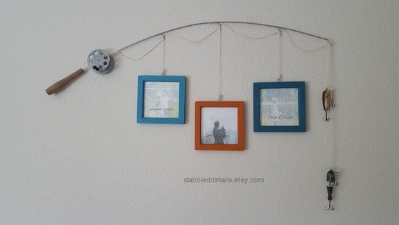 Fishing Pole Picture Frame - Silver Pole - 3 - 5 in x 5 in Picture Frames - Desert Turquoise, Terra Cotta, North Sea