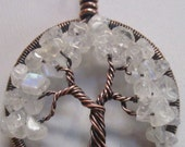 Rainbow Moonstone Tree of Life set in Antiqued Copper, Wire Wrapped Rainbow Moonstone Antiqued Copper Tree of Life