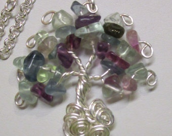 Fluorite Gemstone Wire Wrapped Tree of Life Pendant, Fluorite Gemstone Pendant, Fluorite Gemstone Necklace